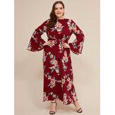 Plus size mulheres estilo chinês vintage vestido floral
