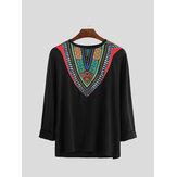 Men's African Print V-Neck Casual T-Shirts Long Sleeve Dashiki Party Shirts Tops
