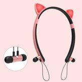 Bakeey ZW29猫耳漫画かわいい磁気bluetoothイヤホンヘッドバンド照明スポーツヘッドフォン用女性ギフト