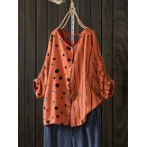 Women Casual 3/4 Sleeve Patchwork Buttons Blouse