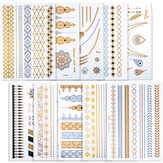 10 Sheets Waterproof Fashional Stamping Metal Tattoo Stickers