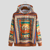 Mens Character Ethnic Printed Insert Pocket Hooded