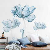 2pcs grande fleur bleue bricolage sticker mural autocollants art vinyle citation decal decal décor à la maison