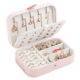 Girl Earrings Plate Jewelry Box Organizer Leather Earrings Ring Multi-function Jewelry Storage Box Bin