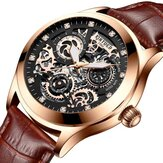 KINYUED JYD-J062 Leather Band Automatic Mechanical Watch