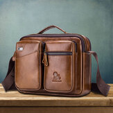 Genuine Leather Men Vintage Messenger Bag Briefcase Handbag Shoulder Bag Satchel Bag