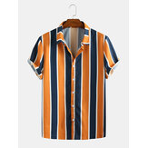 Mens Summer Hit Color Stripe Turn Down Collar Chemises Casual