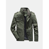 Herren Military Epaulet Solid Color Cotton Cargo-Arbeitsjacke