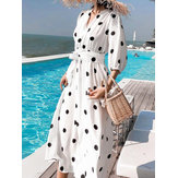 Bohemia Polka Dot Print Summer Beach Long Maxi Dress