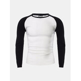 Mens Casual Slim Shirt Crew Neck Raglan Baseball Long Sleeve T-shirt Sports Tops