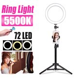 5500K 72 LED Ring Light Round Selfie fotografica Video Trucco Specchio Light lampada Light W / Holder