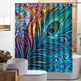 Peacock Feather Bathroom Shower Curtain Polyester Fabric Printed Waterproof Bath Curtain With 12 Hooks