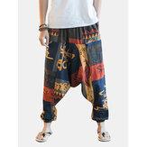 Homme Pantalon de Loisir Imprimé de Style Ethnique en Coton Pantalon d'Été Respirant de Grande Taille