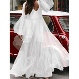 Casual Loose Lace Mesh Puff Sleeve Pleated Ruffle Maxi Dress