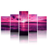 Purple Sea Sunset Modern Frameless HD Leinwanddruck Home Art Wandbild Poster Poster Wandmalereien