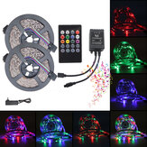 5M 10M 3528 RGB Music Sync Control de voz LED Strip Light + 22Keys IR Control remoto o 3A EU US Adaptador de corriente