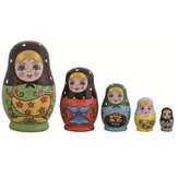 5 Layer Russian Hand Painted Wooden Matryoshka Nesting Toys Stacking Doll Gifts