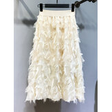 Solid Color Feather Fringed High Waist Long Skirts