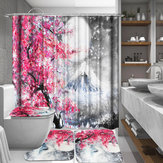 Sakura Snow Mountain 1/3/4 Pcs Waterproof Shower Curtain Toilet Cover Mat Bathroom Set Non-Slip Rug Kit