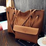 2 piezas Mujer cuero hombro grande Messenger Shopping Bolsa bolso bolso bolso de mano
