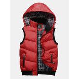 Chaleco informal cálido con capucha gruesa desmontable de invierno desmontable