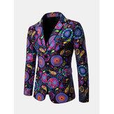 Men Print Blazer National Suit Jackets