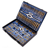 Drillpro 86Pcs Tungstem Steel Placcatura titanio SAE Tap and Die Set Combinazione Metrica Strumenti Kit