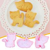 3 Pcs / Set Chat Cookie Biscuit Piston Cutter Fondant Gâteau Moule Moule De Cuisson Outils De Cuisine