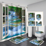 4 PCS Pintura de Paisagem Natural À Prova D 'Água Banheiro Kit Cortina de Chuveiro Capa de Banheiro Tapete de Banho Anti-Slip Rug Sets