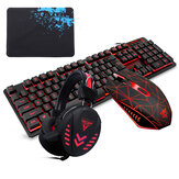 104Key Impermeable diseño USB con cable Multimedia RGB retroiluminado Mecánico Gaming Teclado y LED Gaming Headphone y 3200DPI LED Gaming ratón Conjuntos con ratón Pad