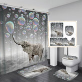 3D Printing Bubbles Elephant Waterproof Bathroom Shower Curtain Toilet Cover Mat Non-Slip Floor Mat Rug Set