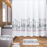 180x180cm Tecido de banho girafa Cortinas de chuveiro Tampa impermeável Tapete de cobertura de vaso sanitário