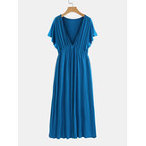 Solid Color V Neck Short High Waist Sleeve Maxi Dress