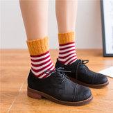 Kadın Yüksek Manşet Ağız Çizgili Yün Çorap
