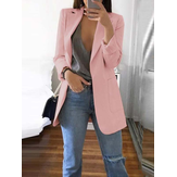 Solid Color Long Sleeve Button Thin Blazers