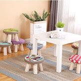 Çıkarılabilir Kapaklı Ev Oturma Odası Yatak Odası için Masif Ahşap Yuvarlak Tabure Mini Sandalye