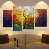 4 Piece Unframed Colourful Trees Canvas Oil Paintings Picture Home Wall Art
