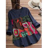 Damska bawełniana bluzka z dekoltem w stylu vintage w stylu folk