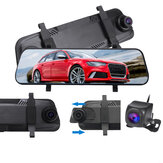 9.66 polegada 1080P Car Rear View Camera Espelho DVR Traço Cam Full Screen Touch Recorder