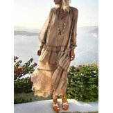 Luźna, długa, sznurowana sukienka damska przepuszczalna, plisowana, marszczona koszula