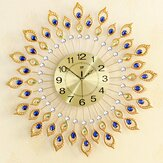 67CM Luxury Peacock Diamond Iron Art Wall Clock Living Bed Room Watch Home
