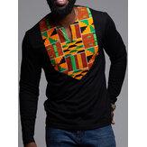 Maglietta a maniche lunghe da uomo Dashiki Camicie floreali africane con scollo a V Camicetta a maniche lunghe
