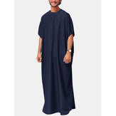 Mens Ethnic Solid Color Pocket Robe