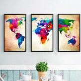 Miico Handgeschilderde decoratieve schilderijen met drie combinaties Colorful Wereldkaart kunst aan de muur voor huisdecoratie