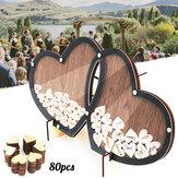 結婚式のゲストダブルハート署名サイン本木製ウッドパーティーの装飾