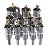 Drillpro 12pcs 15mm-50mm Upgrade M35 Titanium Coated Hole Saw Cutter for Stainless Steel Aluminum Alloy