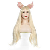 Cosplay Peruca Long Straight Blonde Ouro Cabelo Orelhas Mulheres Anime