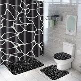 Tenda da doccia in marmo Set da bagno impermeabile Tappetino da bagno Coperchio Coperchio WC Una tenda da doccia