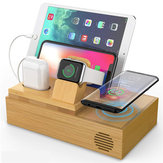 Bamboo 4 USB Ports Docking Station With Qi Wireless Charger Phone Holder Tablet Stand Watch Holder for Smart Phone Tablet Apple Watch Series