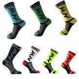 1 par deportes Anti medias de compresión de ciclismo deslizante unisex transpirable debajo de la compresión de la rodilla calcetines
